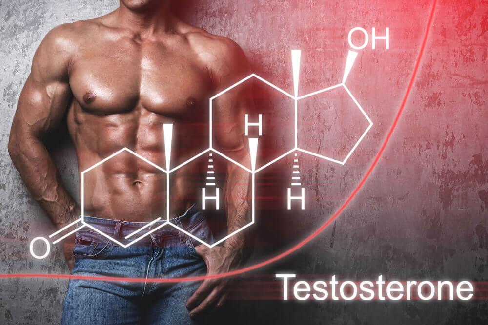 Muscular male with testerone molecule representation around him