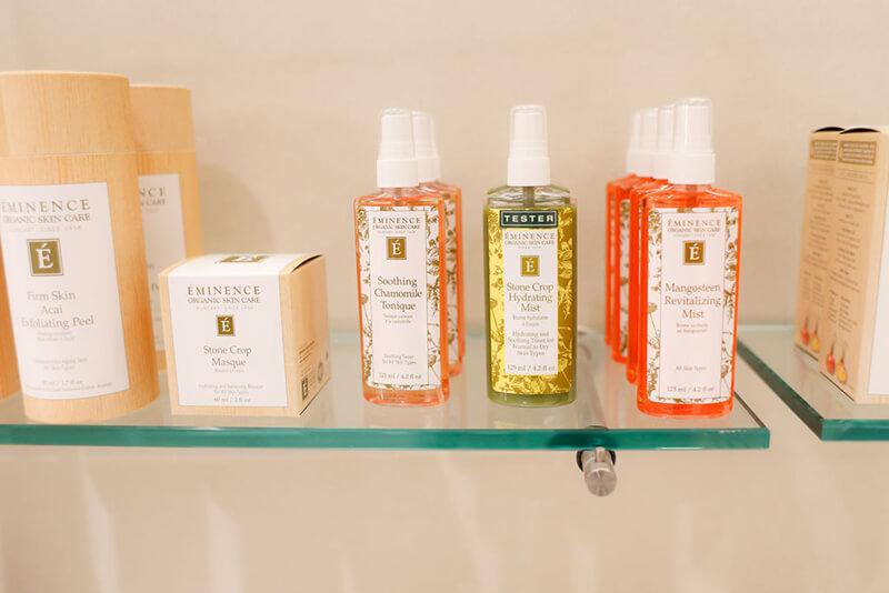 Emerge River Spirit product shelves with tester bottles