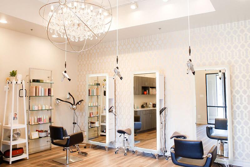 Emerge South Sheridan salon room with hair dryers main view